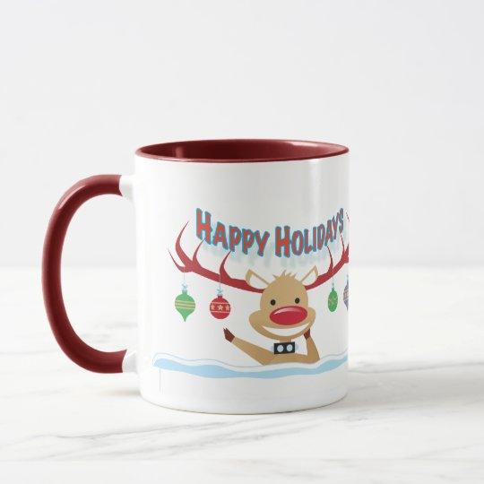 Happy Reindeer Holiday Mug