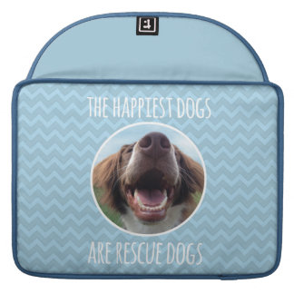 Happy Rescue Dog Blue Chevron Sleeves For MacBook Pro