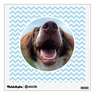 Happy Rescue Dog, Blue Chevron Wall Sticker