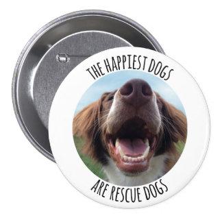 Happy Rescue Dog Button