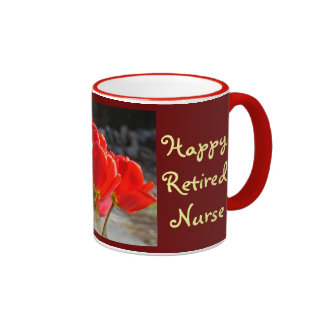 Happy Retired Nurse coffee mugs Red Tulips