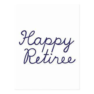 Happy retiree postcard