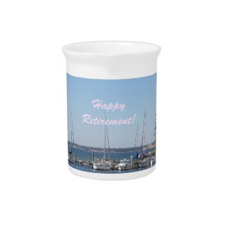 Happy Retirement beach sail boats palm trees Beverage Pitchers