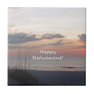 Happy Retirement Beach sunset Small Square Tile