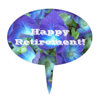 Happy Retirement Blue Hydrangea Floral Cake Topper