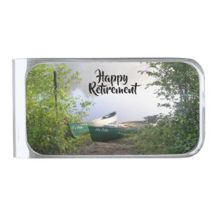 Happy Retirement Canoes on a River at Dawn Silver Finish Money Clip