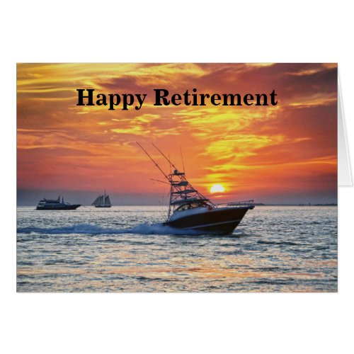 Happy Retirement, Fishing Boat, Florida, Sunset Card