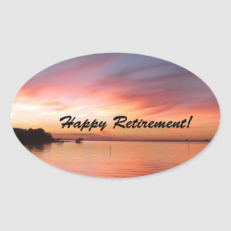 Happy Retirement Florida Sunset Oval Sticker