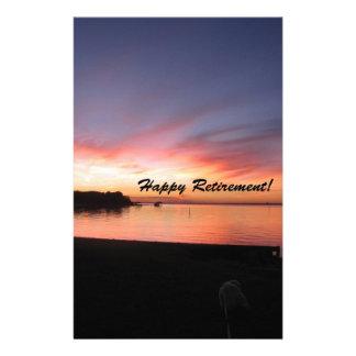 Happy Retirement Florida Sunset Stationery