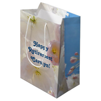 Happy Retirement gift Bags Add custom Name Blossom
