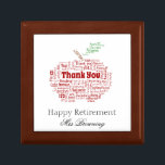 "Happy retirement gift keepsake box<br><div class=""desc"">Happy Retirement gift for teacher with an apple image</div>"