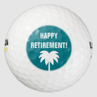 Happy Retirement golf ball set with palm tree logo
