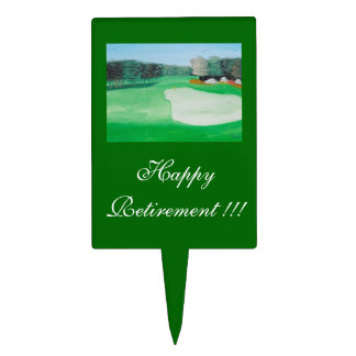 Happy Retirement Golf Course Painting Cake Topper