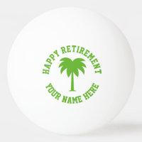 Happy retirement green palm tree logo table tennis ping pong ball