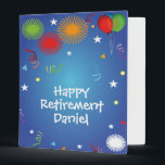 """Happy Retirement memories scrapbook Binder<br><div class=""""desc"""">Happy Retirement with editable custom name on front for a memory book and photo album that makes a wonderful and cherished retirement party gift. Fill the notebook with pages for coworkers to sign and write their memories and wishes, add photos from the years of working together, along with any other...</div>"""