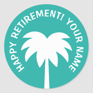 Happy Retirement palm tree stickers | Personalize