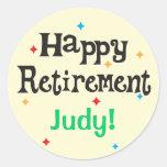Happy Retirement Party Custom Name Classic Round Sticker