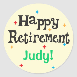 Happy Retirement Party Custom Name Classic Round Sticker