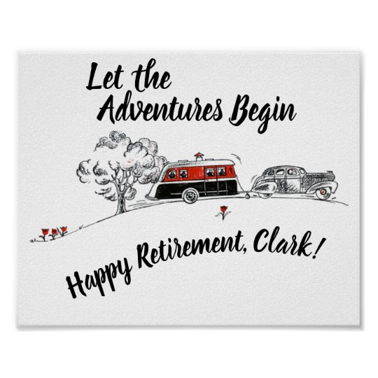 Happy Retirement Party Sign Retro Camper Adventure