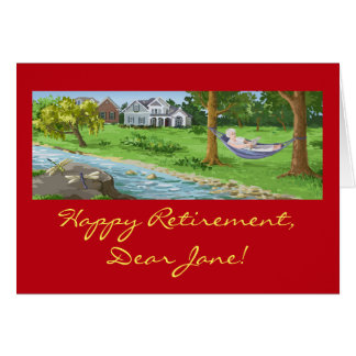 Happy Retirement Personalize (Lady in Hammock) Card
