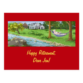 Happy Retirement Personalize (Lady in Hammock) Postcard