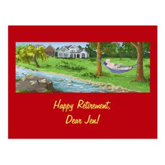 Happy Retirement Personalize (Lady in Hammock) Postcard