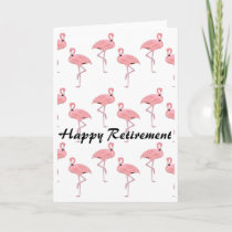Happy Retirement Pink Flamingo Pattern Card
