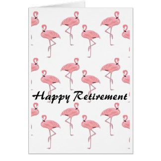 Happy Retirement Pink Flamingo Pattern Card