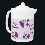 "Happy Retirement Pretty Purple Floral Employee Teapot<br><div class=""desc"">Celebrate your employee or coworker with a unique and beautiful retirement gift. Pretty purple flowers and green leaves wind and curve their way along the teapot and around the text. ""Happy Retirement"" as well as the lucky employee's name, company name, and years of service can quickly and easily be personalized...</div>"