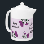 "Happy Retirement Pretty Purple Floral Employee Teapot<br><div class=""desc"">Celebrate your employee or coworker with a unique and beautiful retirement gift. Pretty purple flowers and green leaves wind and curve their way along the teapot and around the text. ""Happy Retirement"" as well as the lucky employee"