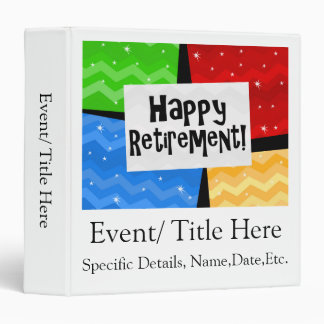 Happy Retirement, Primary Color Squares Party 3 Ring Binder