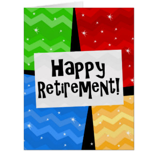 Happy Retirement, Primary Color Squares Party Large Greeting Card