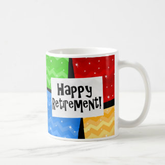 Happy Retirement, Primary Color Squares Party Coffee Mug