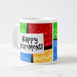 Happy Retirement, Primary Color Squares Party Large Coffee Mug