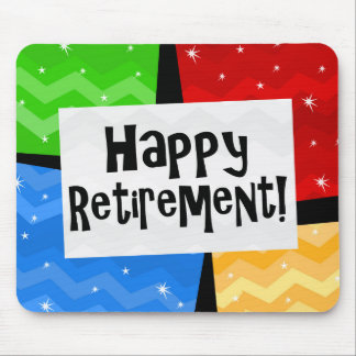 Happy Retirement Primary Color Squares Party Mousepads