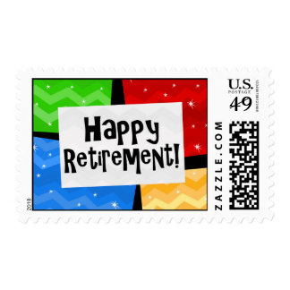 Happy Retirement, Primary Color Squares Party Postage