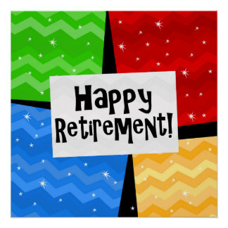 Happy Retirement, Primary Color Squares Party Poster