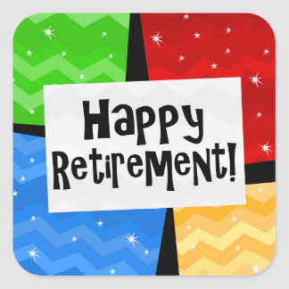 Happy Retirement, Primary Color Squares Party Square Sticker