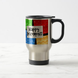 Happy Retirement, Primary Color Squares Party Travel Mug