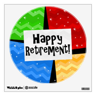 Happy Retirement, Primary Color Squares Party Wall Sticker