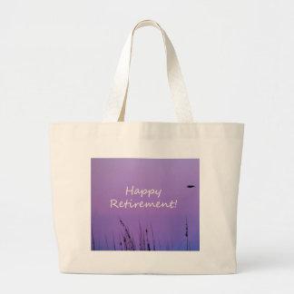 Happy Retirement  Purple Seaside Sunset Canvas Bag