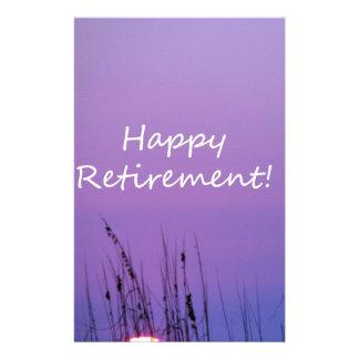 Happy Retirement  Purple Seaside Sunset Stationery