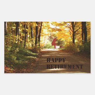 Happy Retirement Red Barn Autumn Road Rectangular Sticker