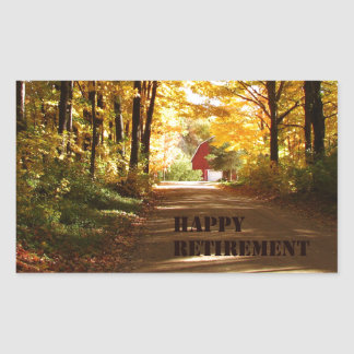 Happy Retirement Red Barn Autumn Road Rectangular Sticker
