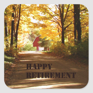 Happy Retirement Red Barn Autumn Road Stickers