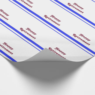 Happy retirement, red stripe, on white gift wrap. wrapping paper