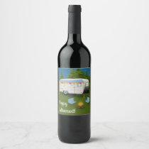 Happy Retirement! RV Camper in Woods Wine Label