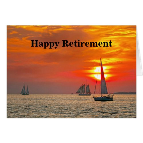 Happy Retirement, Sailboats, Florida, Sunset Card