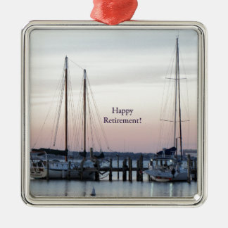Happy Retirement Sailboats Sea Metal Ornament