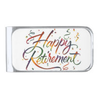 Happy Retirement Silver Finish Money Clip